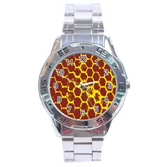Network Grid Pattern Background Structure Yellow Stainless Steel Analogue Watch