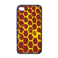 Network Grid Pattern Background Structure Yellow Apple iPhone 4 Case (Black)