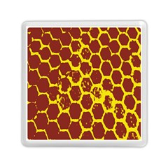 Network Grid Pattern Background Structure Yellow Memory Card Reader (Square)