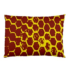 Network Grid Pattern Background Structure Yellow Pillow Case (Two Sides)
