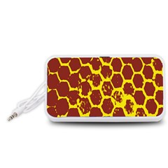 Network Grid Pattern Background Structure Yellow Portable Speaker (White)