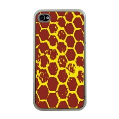 Network Grid Pattern Background Structure Yellow Apple iPhone 4 Case (Clear)
