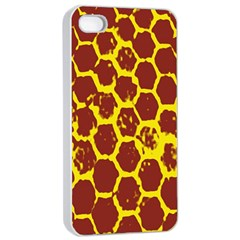 Network Grid Pattern Background Structure Yellow Apple iPhone 4/4s Seamless Case (White)
