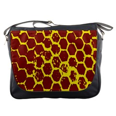 Network Grid Pattern Background Structure Yellow Messenger Bags