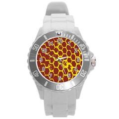Network Grid Pattern Background Structure Yellow Round Plastic Sport Watch (L)