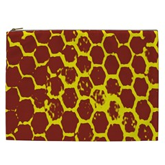 Network Grid Pattern Background Structure Yellow Cosmetic Bag (XXL)