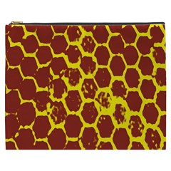 Network Grid Pattern Background Structure Yellow Cosmetic Bag (XXXL)