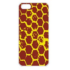 Network Grid Pattern Background Structure Yellow Apple iPhone 5 Seamless Case (White)