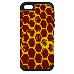 Network Grid Pattern Background Structure Yellow Apple iPhone 5 Hardshell Case (PC+Silicone)