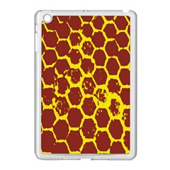 Network Grid Pattern Background Structure Yellow Apple iPad Mini Case (White)