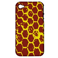 Network Grid Pattern Background Structure Yellow Apple iPhone 4/4S Hardshell Case (PC+Silicone)
