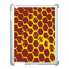 Network Grid Pattern Background Structure Yellow Apple iPad 3/4 Case (White)