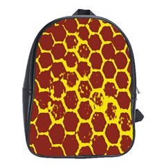 Network Grid Pattern Background Structure Yellow School Bags (XL)