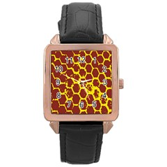 Network Grid Pattern Background Structure Yellow Rose Gold Leather Watch