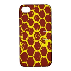 Network Grid Pattern Background Structure Yellow Apple iPhone 4/4S Hardshell Case with Stand
