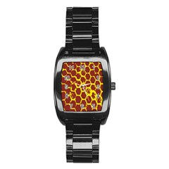 Network Grid Pattern Background Structure Yellow Stainless Steel Barrel Watch