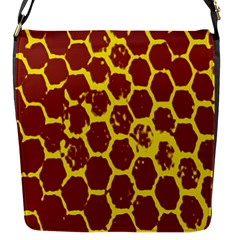Network Grid Pattern Background Structure Yellow Flap Messenger Bag (S)