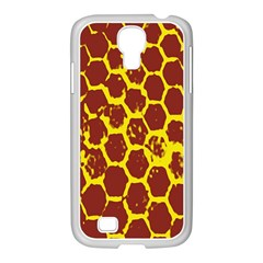 Network Grid Pattern Background Structure Yellow Samsung Galaxy S4 I9500/ I9505 Case (white)