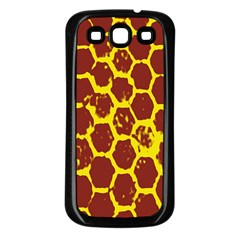 Network Grid Pattern Background Structure Yellow Samsung Galaxy S3 Back Case (Black)