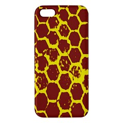 Network Grid Pattern Background Structure Yellow iPhone 5S/ SE Premium Hardshell Case