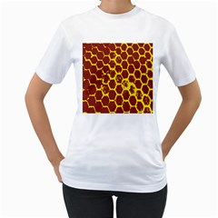 Network Grid Pattern Background Structure Yellow Women s T Shirt (white)
