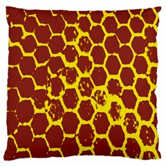 Network Grid Pattern Background Structure Yellow Large Flano Cushion Case (Two Sides)
