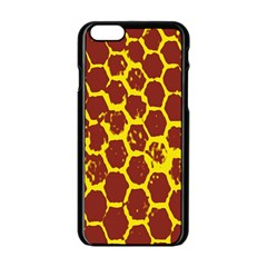 Network Grid Pattern Background Structure Yellow Apple iPhone 6/6S Black Enamel Case