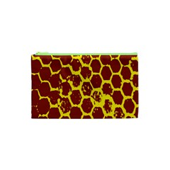 Network Grid Pattern Background Structure Yellow Cosmetic Bag (xs)