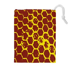 Network Grid Pattern Background Structure Yellow Drawstring Pouches (Extra Large)