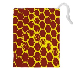 Network Grid Pattern Background Structure Yellow Drawstring Pouches (XXL)
