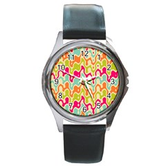 Abstract Pattern Colorful Wallpaper Round Metal Watch