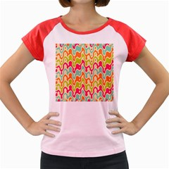 Abstract Pattern Colorful Wallpaper Women s Cap Sleeve T-Shirt