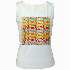Abstract Pattern Colorful Wallpaper Women s White Tank Top