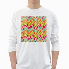 Abstract Pattern Colorful Wallpaper White Long Sleeve T-Shirts