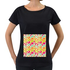 Abstract Pattern Colorful Wallpaper Women s Loose-Fit T-Shirt (Black)