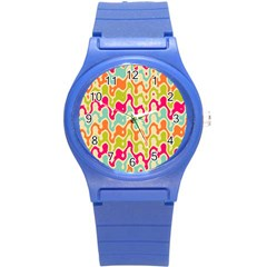 Abstract Pattern Colorful Wallpaper Round Plastic Sport Watch (S)