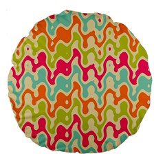 Abstract Pattern Colorful Wallpaper Large 18  Premium Round Cushions