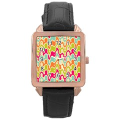 Abstract Pattern Colorful Wallpaper Rose Gold Leather Watch