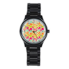 Abstract Pattern Colorful Wallpaper Stainless Steel Round Watch