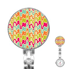 Abstract Pattern Colorful Wallpaper Stainless Steel Nurses Watch