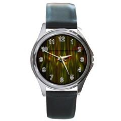 Fractal Rain Round Metal Watch