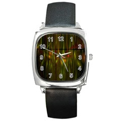 Fractal Rain Square Metal Watch