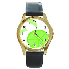 Fruit Lime Green Round Gold Metal Watch