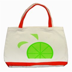 Fruit Lime Green Classic Tote Bag (Red)