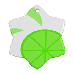 Fruit Lime Green Snowflake Ornament (Two Sides)