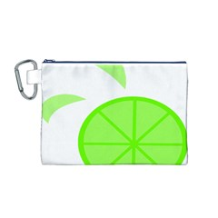 Fruit Lime Green Canvas Cosmetic Bag (M)