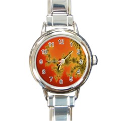 Decorative Fractal Spiral Round Italian Charm Watch