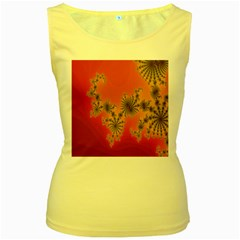Decorative Fractal Spiral Women s Yellow Tank Top
