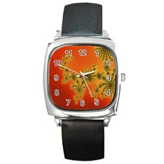 Decorative Fractal Spiral Square Metal Watch