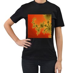 Decorative Fractal Spiral Women s T-Shirt (Black) (Two Sided)